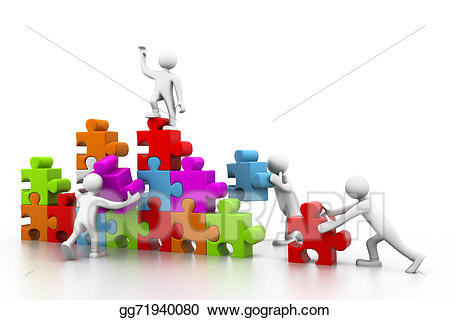 Drawing business teamwork building. Buildings clipart puzzle