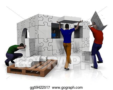 Buildings clipart puzzle. People building a house