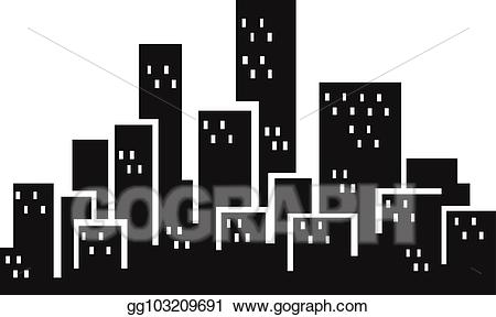 Eps vector city stock. Buildings clipart silhouette