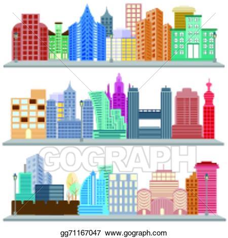 Vector stock cityscape with. Buildings clipart skyscraper