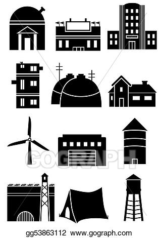 Stock illustration generic icons. Buildings clipart structure