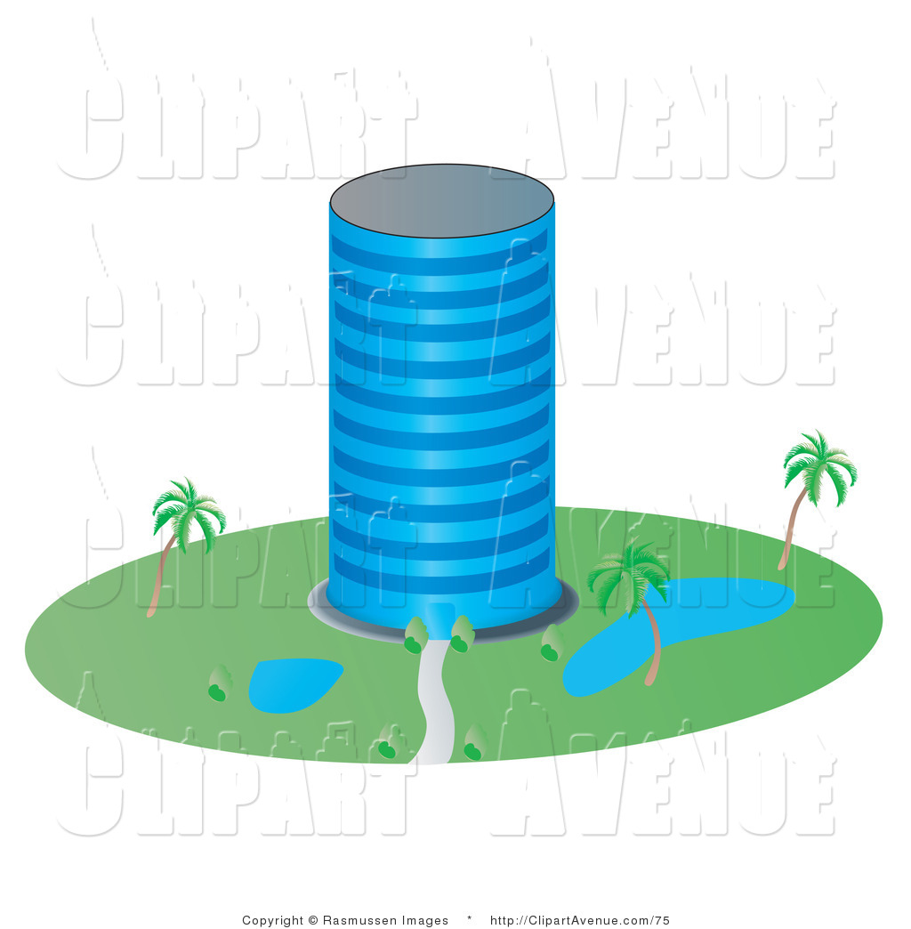 Avenue of a circular. Buildings clipart tall building