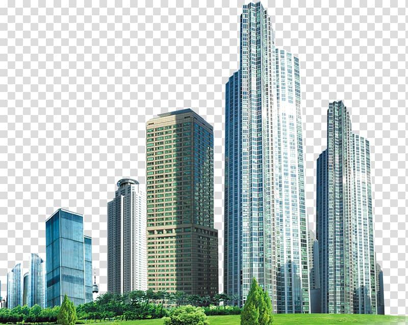 High rise near green. Buildings clipart tall building