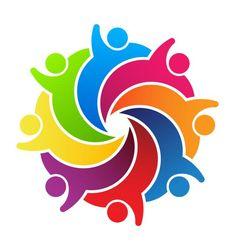 People agenda meeting logo. Buildings clipart teamwork