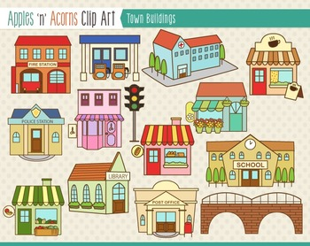 Clip art color and. Buildings clipart town