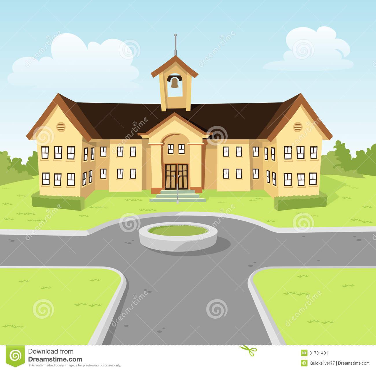 Buildings clipart university. School building stock image