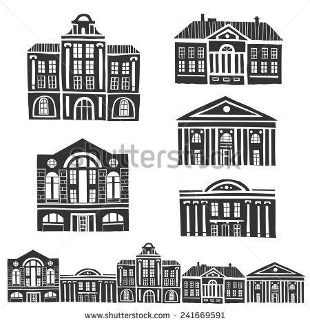 Earlier building clipground antique. Buildings clipart vector