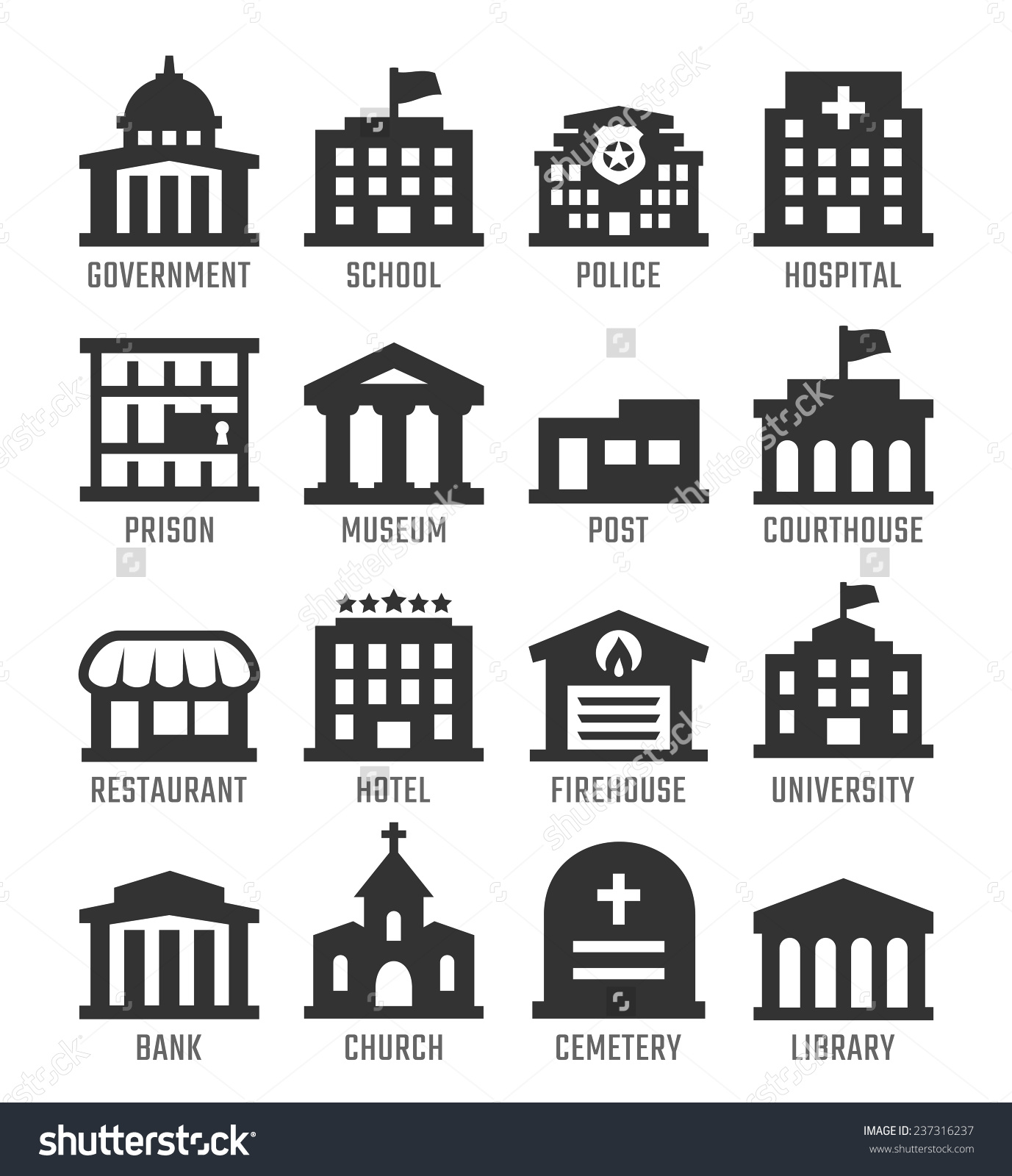 Government building collection . Buildings clipart vector