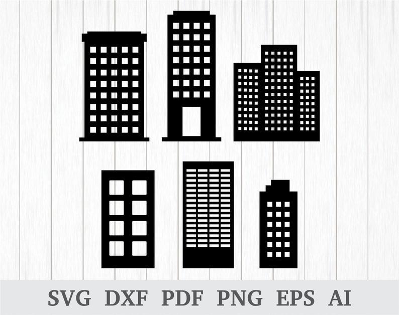 Buildings clipart vector. Svg building skyscraper cricut
