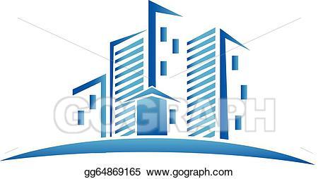 Art skyline real estate. Buildings clipart vector