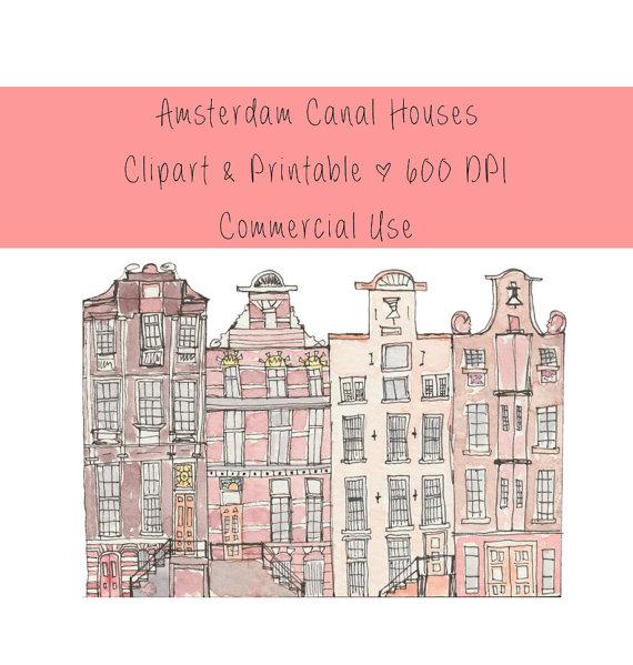 Amsterdam printable art canal. Buildings clipart watercolor