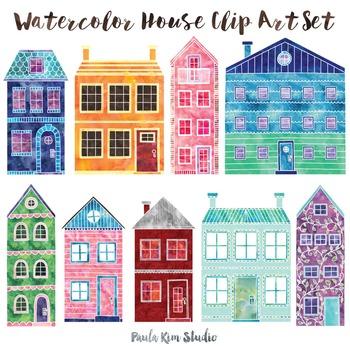 House clip art set. Buildings clipart watercolor