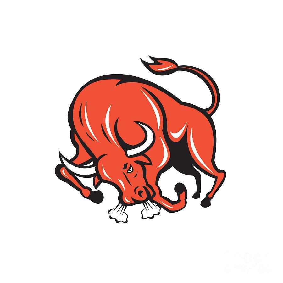 Charging cartoon digital art. Bull clipart angry bull