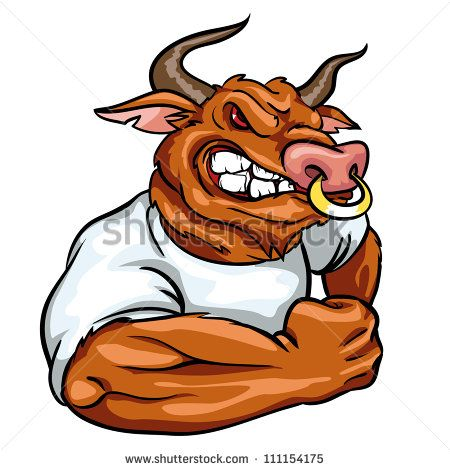 Mascot team logo design. Bull clipart angry bull