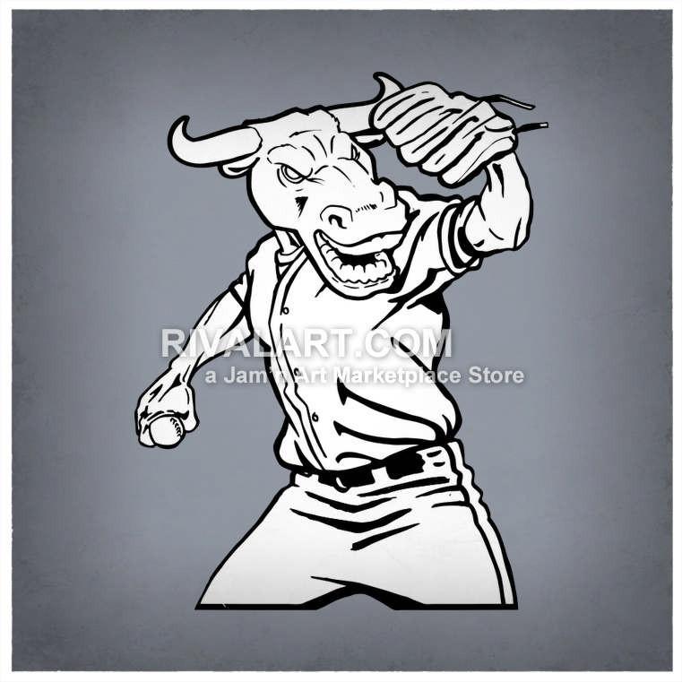 Bull clipart baseball. Throwing vector of