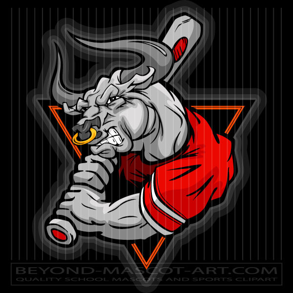 Batter cartoon vector image. Bull clipart baseball