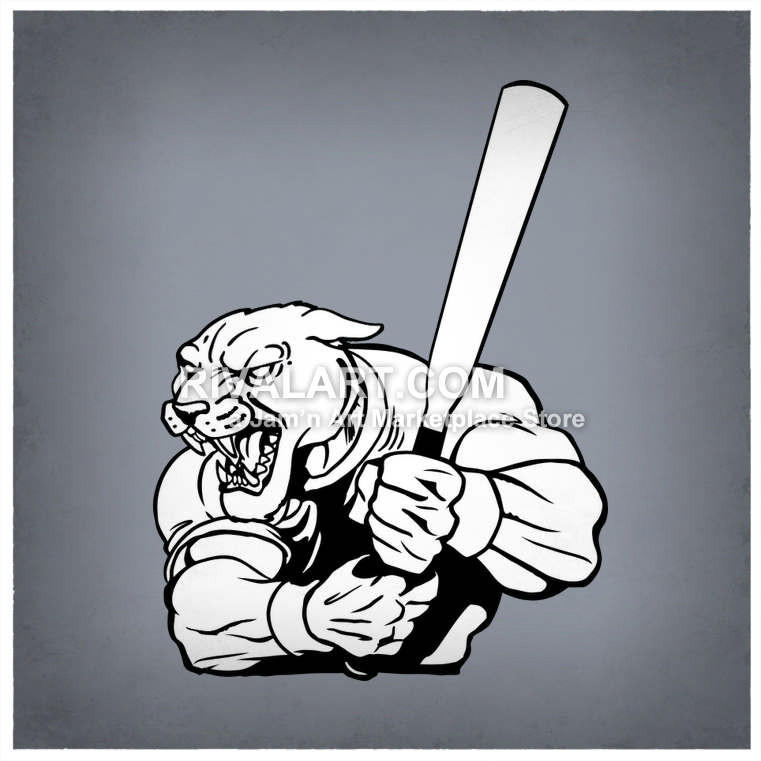 Bull clipart baseball. Panther holding a bat