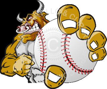 Holding . Bull clipart baseball