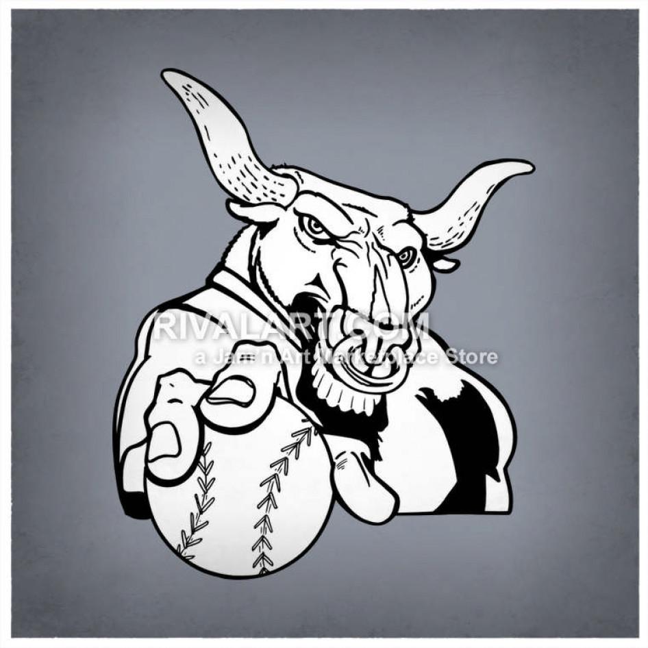 Bull clipart baseball. Holding