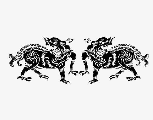 Two animal pattern decorative. Bull clipart beast