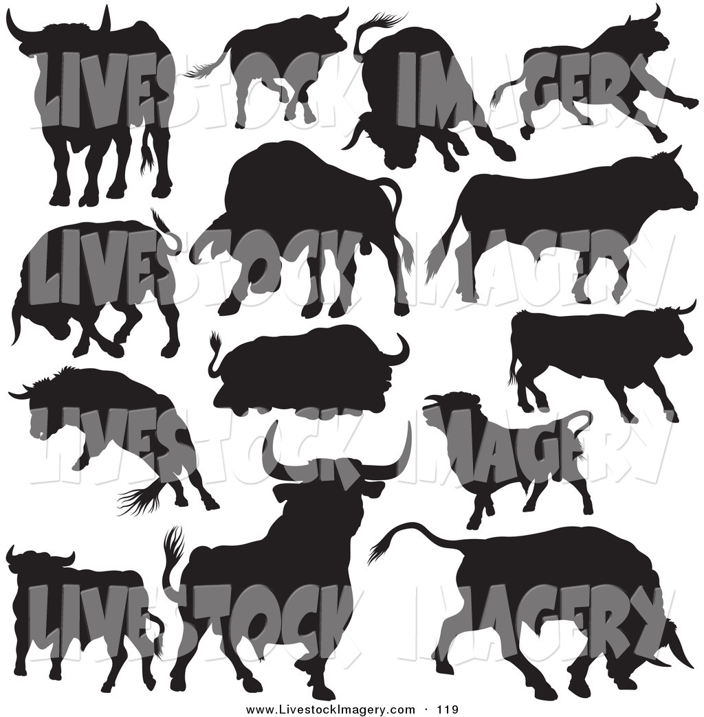 Clip art of a. Bull clipart black and white