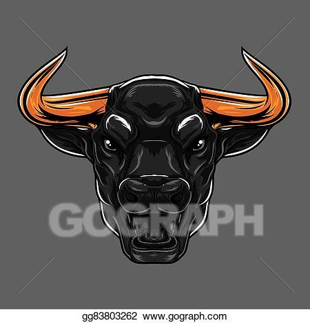 Bull clipart bull face. Vector stock angry illustration