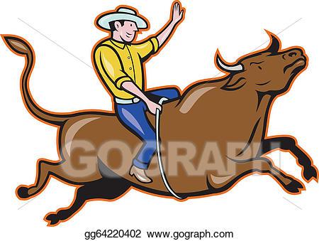 Vector illustration rodeo cowboy. Bull clipart bull rider