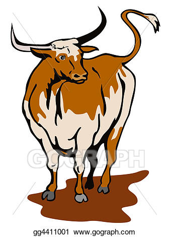 Stock texas bull gg. Longhorn clipart illustration