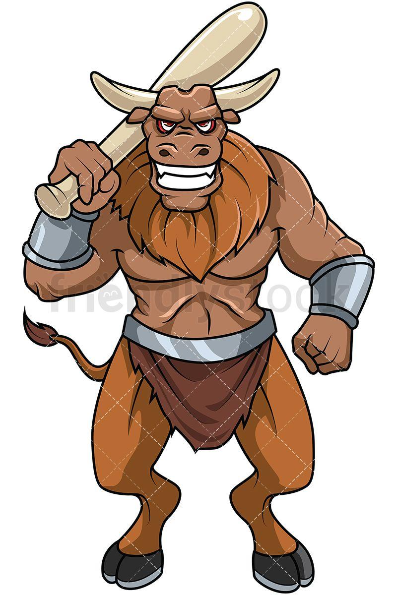 Minotar holding baseball bat. Bull clipart minotaur