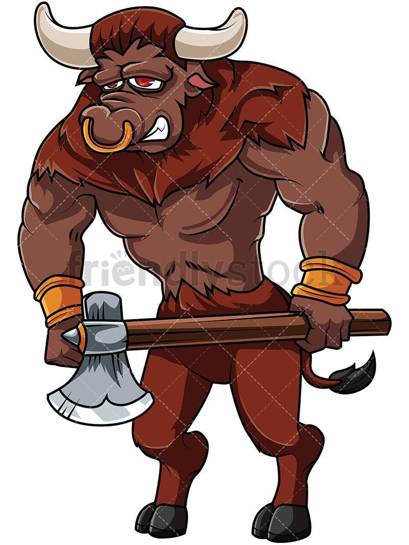 Holding axe cartoon vector. Bull clipart minotaur