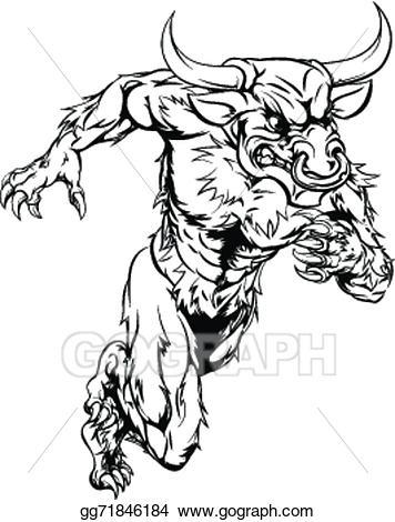 Bull clipart minotaur. Vector illustration sports mascot