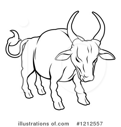 Black and white pencil. Bull clipart outline