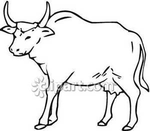 Black and white station. Bull clipart outline