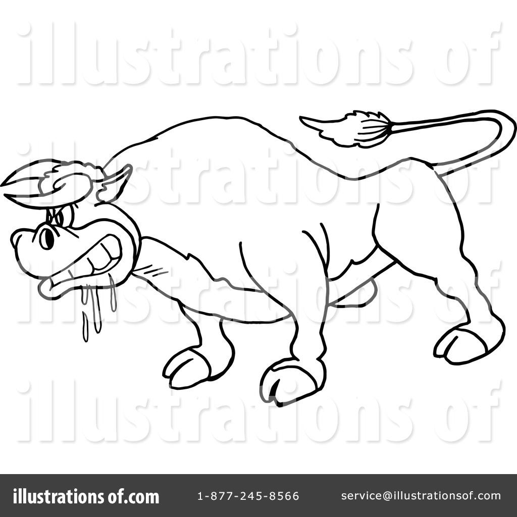 Bull clipart outline. Illustration by lafftoon royaltyfree