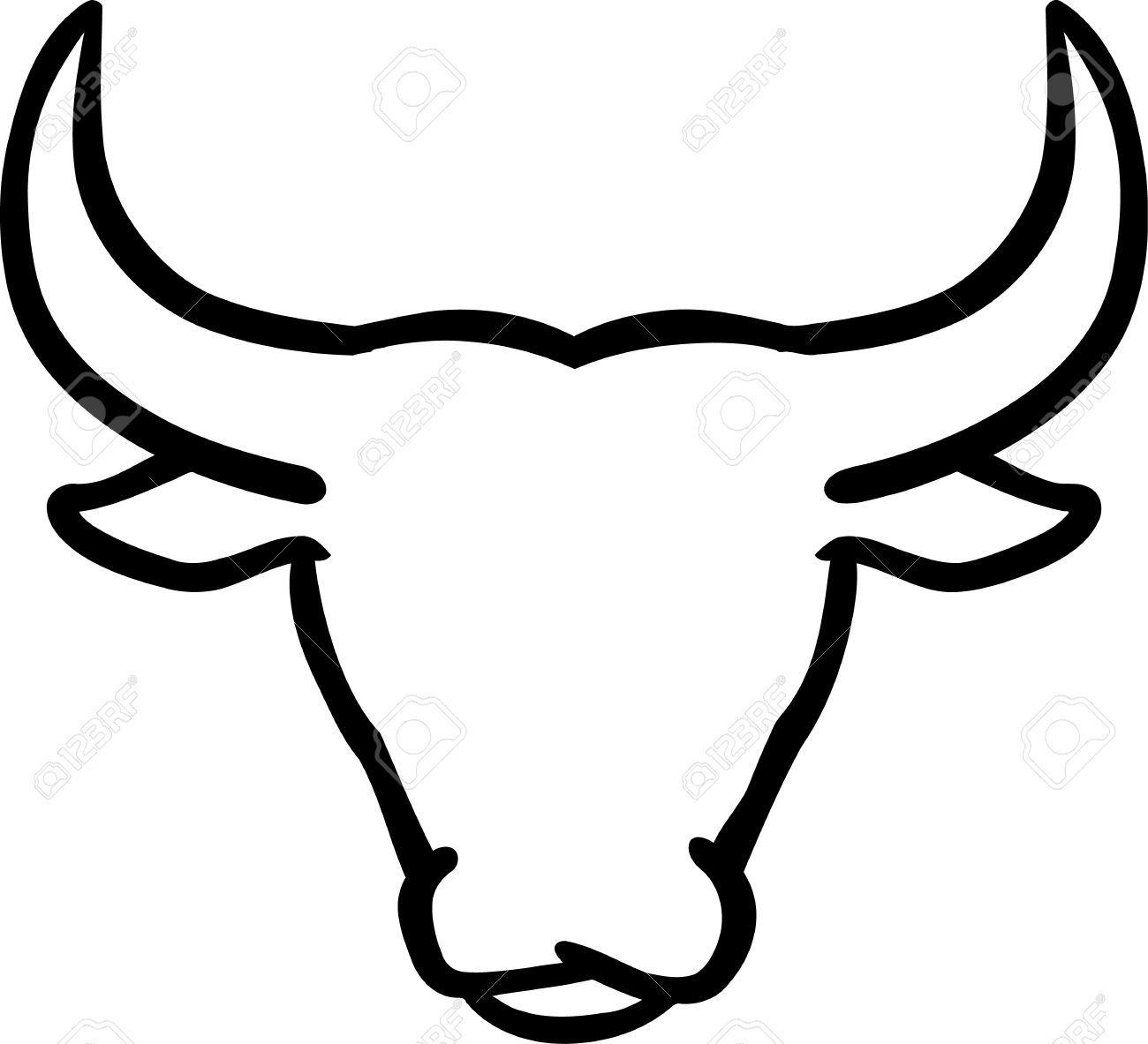 Head life pinterest outlines. Bull clipart outline