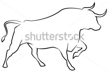 Pencil and in color. Bull clipart outline