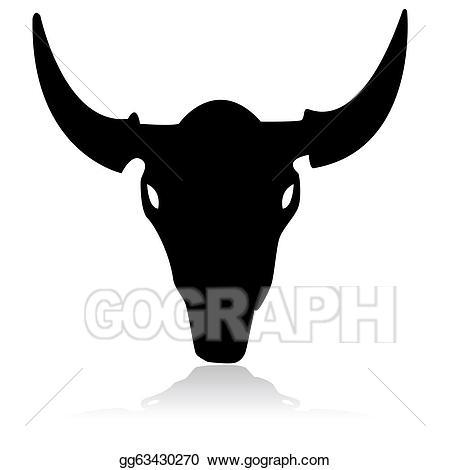 Bull clipart outline. Vector stock skull illustration