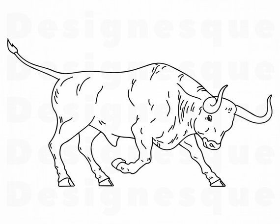 Svg cattle ox files. Bull clipart outline