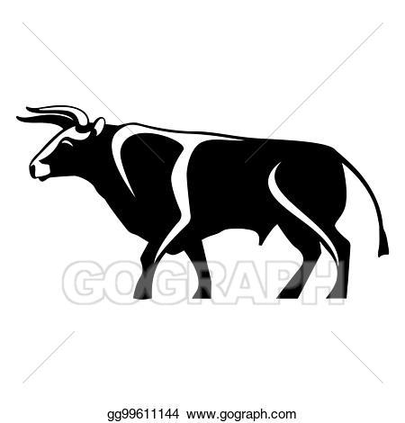 Vector art black silhouette. Bull clipart profile