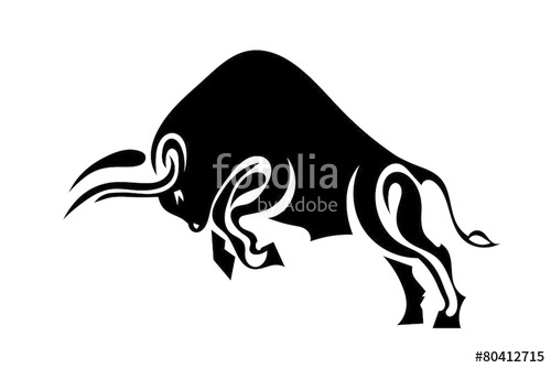 Bull clipart profile. In standing on its