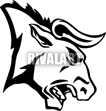 Tribal angry wolf drawing. Bull clipart profile
