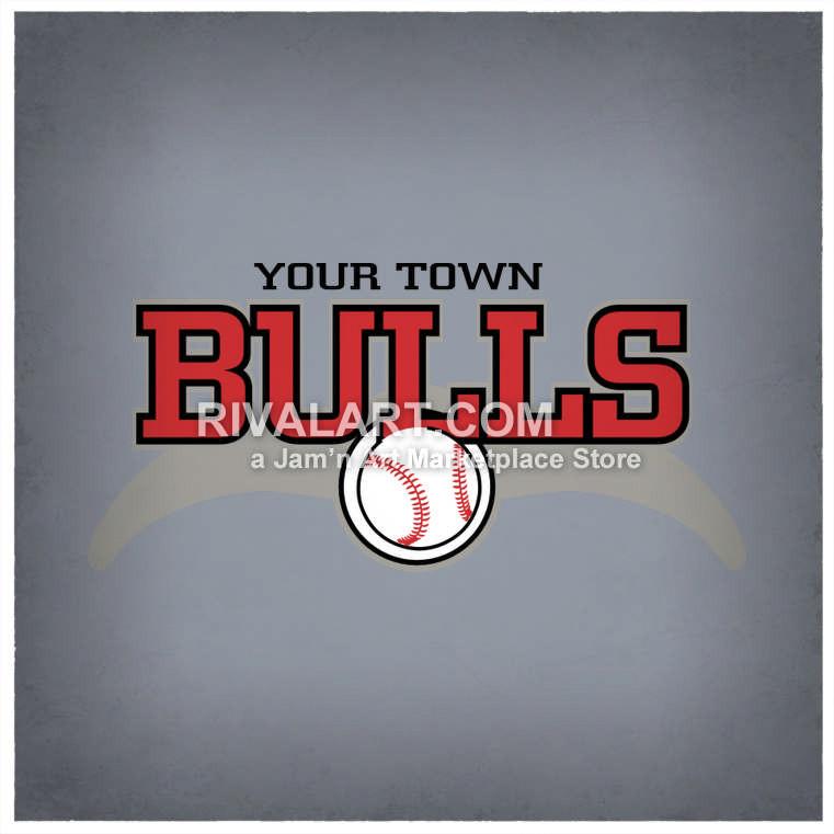 Bulls baseball design horns. Bull clipart team