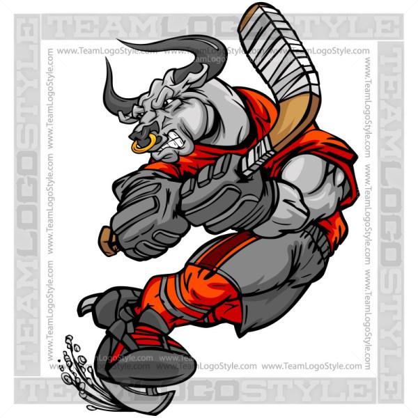 Bull clipart team. Hockey player vector bulls