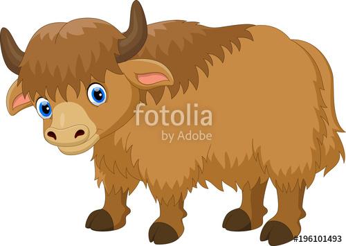 Cute cartoon stock image. Yak clipart hairy animal