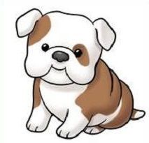 A happy cartoon standing. Bulldog clipart baby bulldog