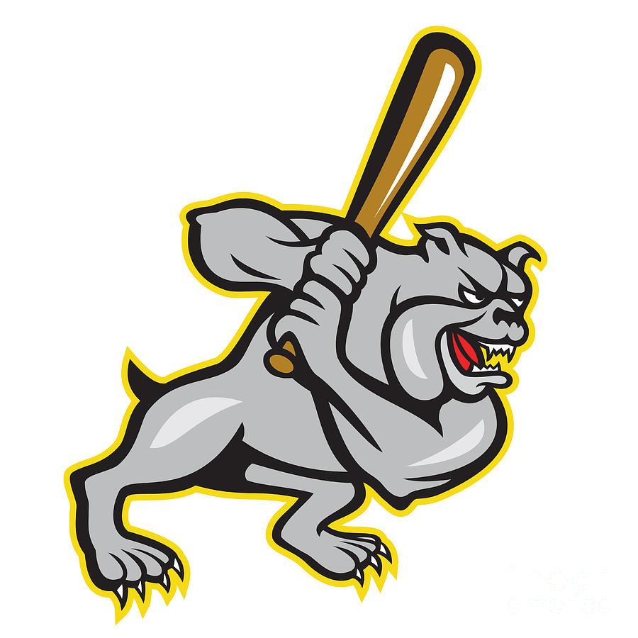 Dog hitter batting cartoon. Bulldog clipart baseball