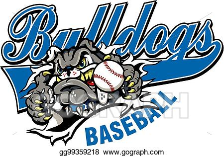 Vector art eps gg. Bulldog clipart baseball