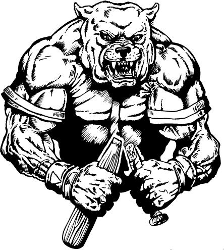 Broken bat mascot decal. Bulldog clipart baseball