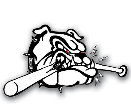 Pencil and in color. Bulldog clipart baseball
