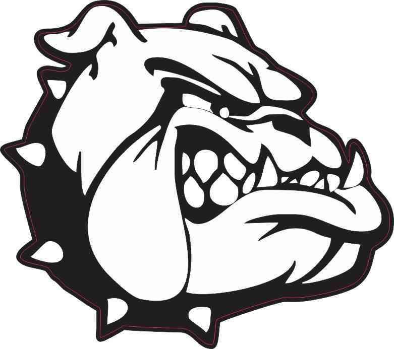 Bulldog clipart black and white.  in x sticker